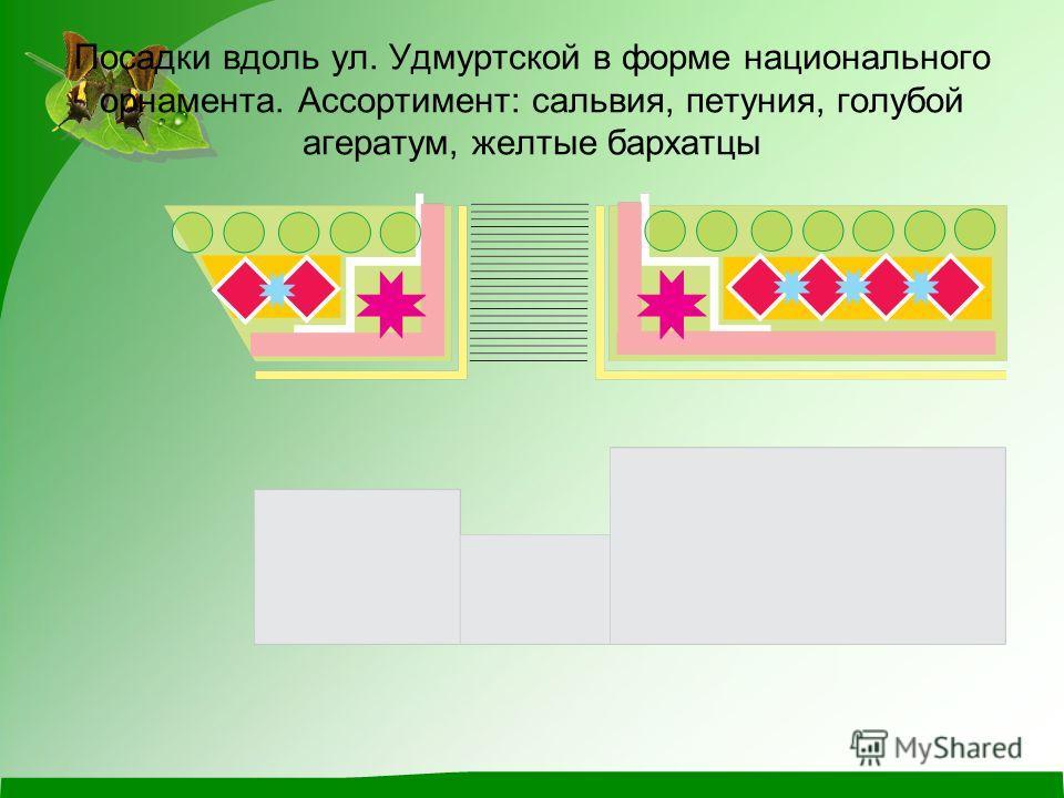 Посадки вдоль ул. Удмуртской в форме национального орнамента. Ассортимент: сальвия, петуния, голубой агератум, желтые бархатцы