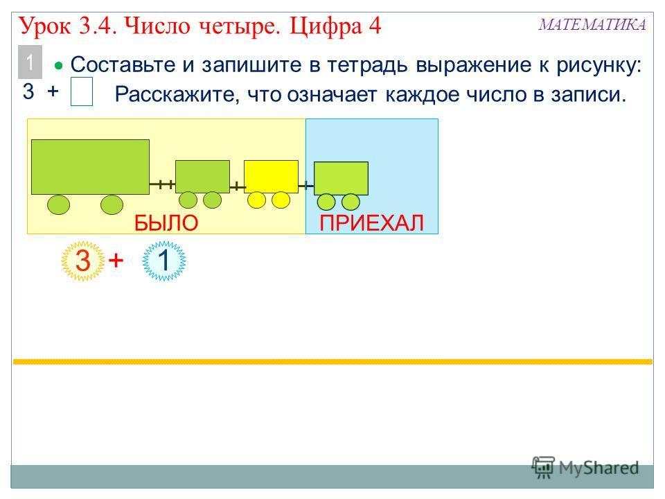 Составьте и запишите в тетрадь выражение к рисунку: 3 + МАТЕМАТИКА 1 1 3 + Расскажите, что означает каждое число в записи. БЫЛОПРИЕХАЛ Урок 3.4. Число четыре. Цифра 4