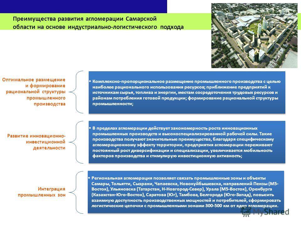 Преимущества развития агломерации Самарской области на основе индустриально-логистического подхода Оптимальное размещение и формирование рациональной структуры промышленного производства Комплексно-пропорциональное размещение промышленного производст