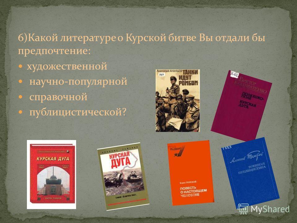 6)Какой литературе о Курской битве Вы отдали бы предпочтение: художественной научно-популярной справочной публицистической?