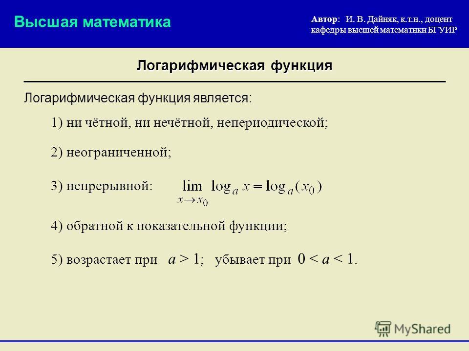 Логарифмическая функция Автор: И. В. Дайняк, к.т.н., доцент кафедры высшей математики БГУИР 2) неограниченной; Логарифмическая функция является: Высшая математика 3) непрерывной: 4) обратной к показательной функции; 1) ни чётной, ни нечётной, неперио