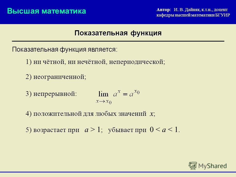 Показательная функция Автор: И. В. Дайняк, к.т.н., доцент кафедры высшей математики БГУИР 2) неограниченной; Показательная функция является: Высшая математика 3) непрерывной: 4) положительной для любых значений х ; 1) ни чётной, ни нечётной, непериод