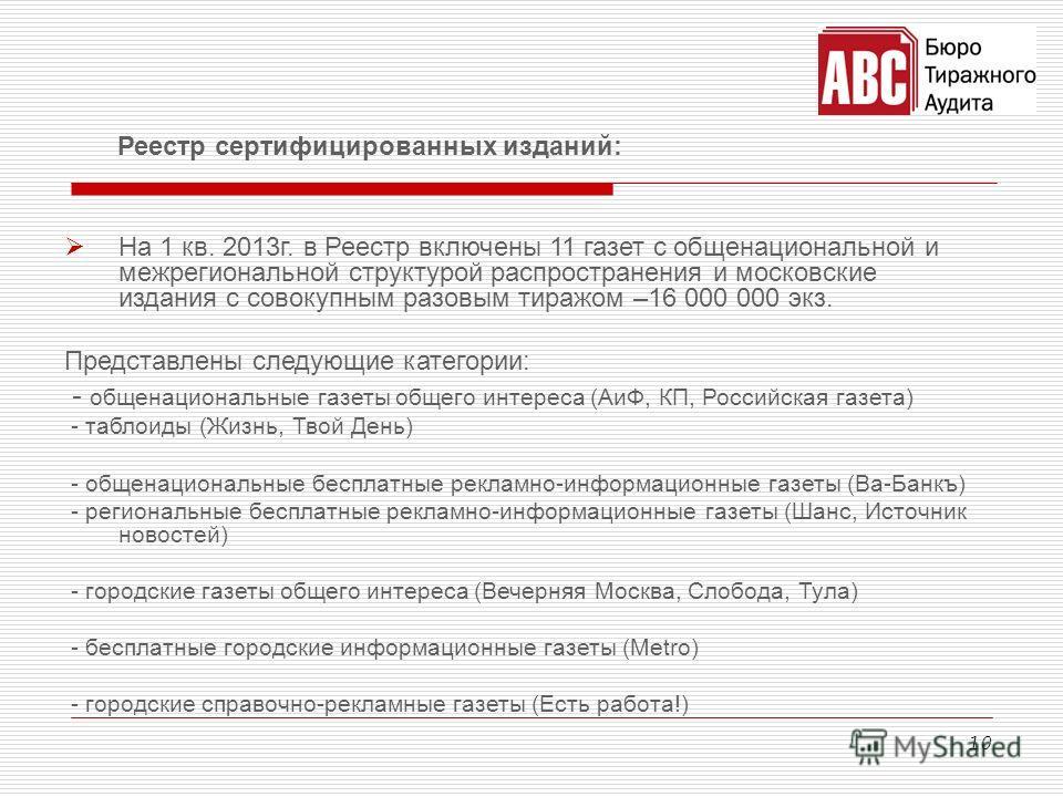 10 Реестр сертифицированных изданий: На 1 кв. 2013г. в Реестр включены 11 газет с общенациональной и межрегиональной структурой распространения и московские издания с совокупным разовым тиражом –16 000 000 экз. Представлены следующие категории: - общ