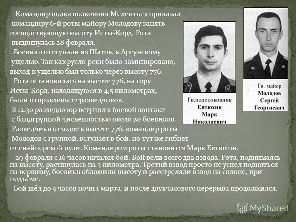 Командир полка полковник Мелентьев приказал командиру 6-й роты майору Молодову занять господствующую высоту Исты-Корд. Рота выдвинулась 28 февраля. Боевики отступали из Шатоя, к Аргунскому ущелью. Так как русло реки было заминировано, выход к ущелью