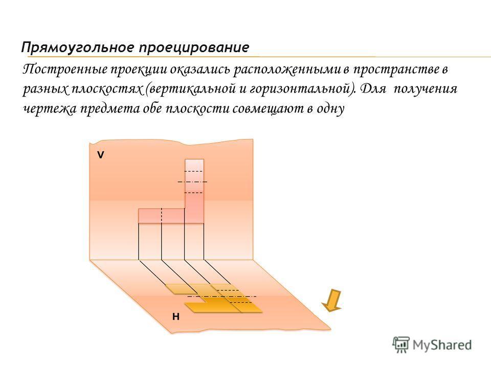 Построенные проекции оказались расположенными в пространстве в разных плоскостях (вертикальной и горизонтальной). Для получения чертежа предмета обе плоскости совмещают в одну