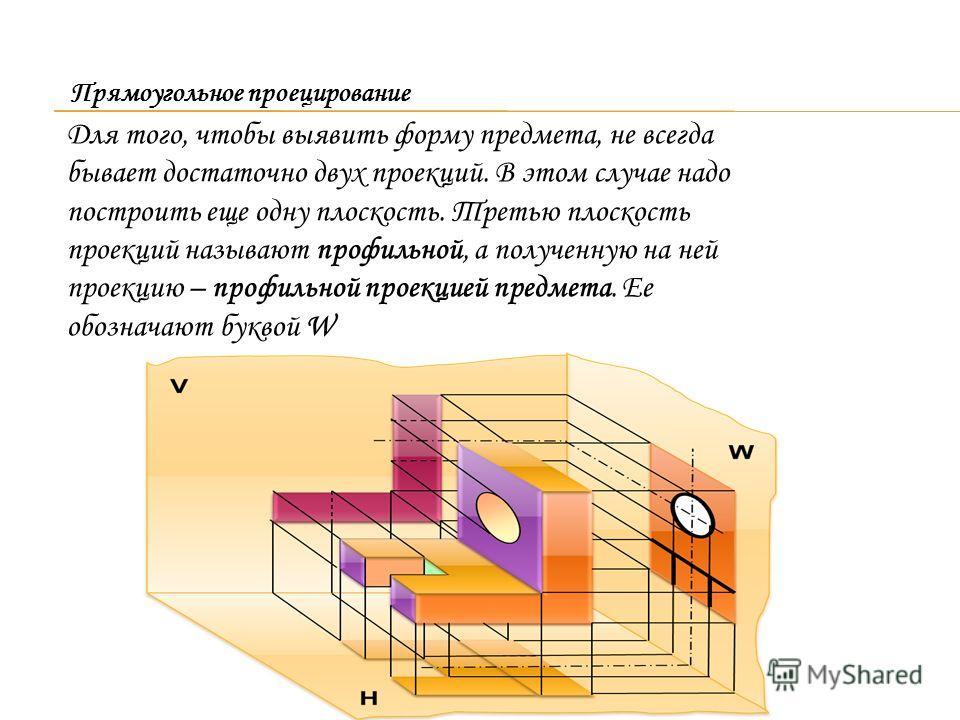 Для того, чтобы выявить форму предмета, не всегда бывает достаточно двух проекций. В этом случае надо построить еще одну плоскость. Третью плоскость проекций называют профильной, а полученную на ней проекцию – профильной проекцией предмета. Ее обозна