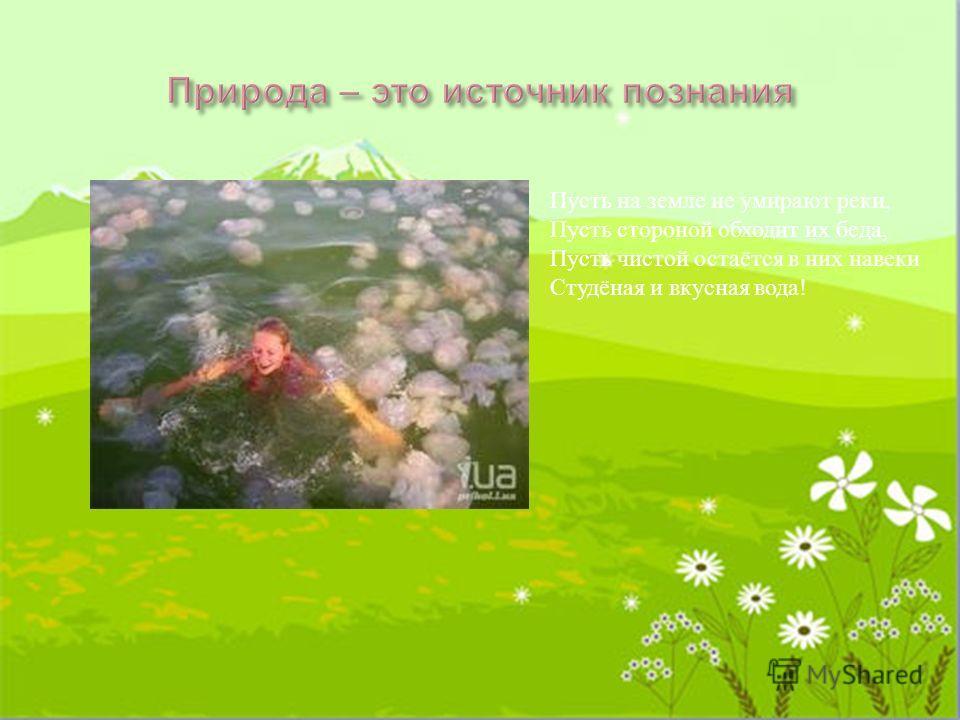 Пусть на земле не умирают реки, Пусть стороной обходит их беда, Пусть чистой остаётся в них навеки Студёная и вкусная вода !