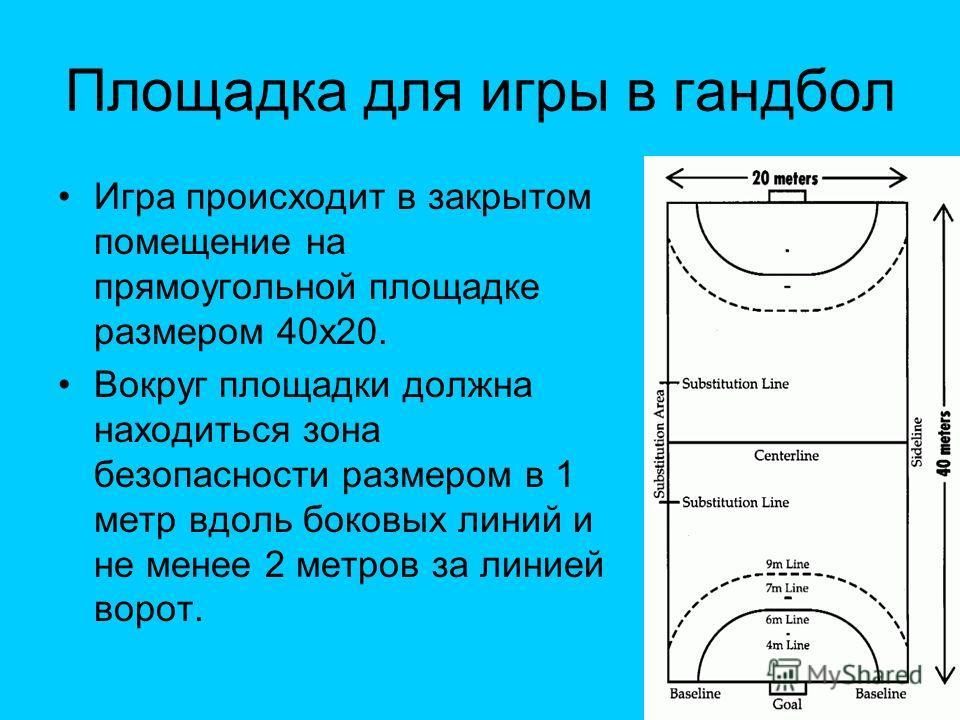 Площадка для игры в гандбол Игра происходит в закрытом помещение на прямоугольной площадке размером 40х20. Вокруг площадки должна находиться зона безопасности размером в 1 метр вдоль боковых линий и не менее 2 метров за линией ворот.