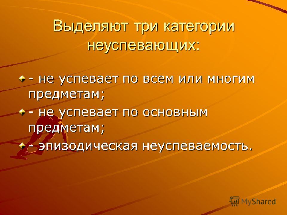 Выделяют три категории неуспевающих: - не успевает по всем или многим предметам; - не успевает по основным предметам; - эпизодическая неуспеваемость.