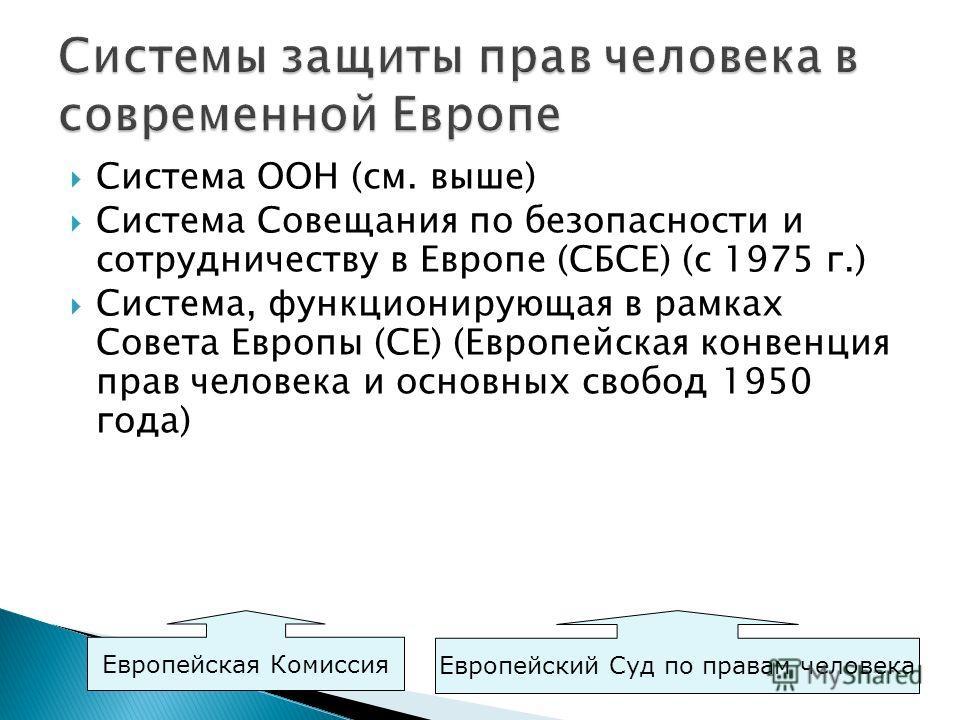 Система ООН (см. выше) Система Совещания по безопасности и сотрудничеству в Европе (СБСЕ) (с 1975 г.) Система, функционирующая в рамках Совета Европы (СЕ) (Европейская конвенция прав человека и основных свобод 1950 года) Европейская Комиссия Европейс