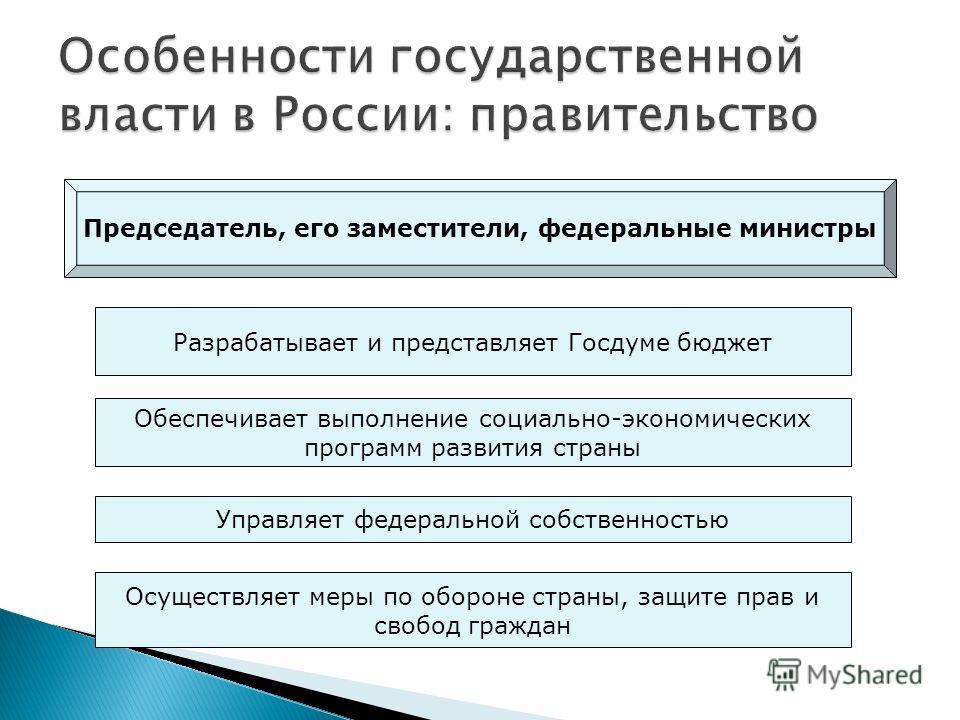 Председатель, его заместители, федеральные министры Разрабатывает и представляет Госдуме бюджет Обеспечивает выполнение социально-экономических программ развития страны Управляет федеральной собственностью Осуществляет меры по обороне страны, защите