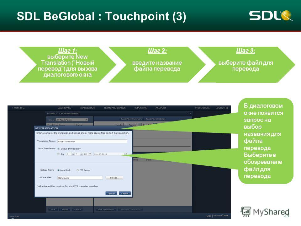 34 SDL BeGlobal : Touchpoint (3) Step 1: By Selecting New Translation the file box opens Step 2: Now type in the name of the translation Step 3: Select the file now to be translated В диалоговом окне появится запрос на выбор названия для файла перево