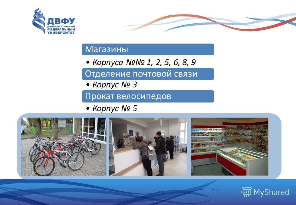 Магазины Корпуса 1, 2, 5, 6, 8, 9 Отделение почтовой связи Корпус 3 Прокат велосипедов Корпус 5