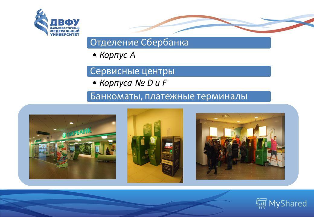 Отделение Сбербанка Корпус A Сервисные центры Корпуса D и F Банкоматы, платежные терминалы