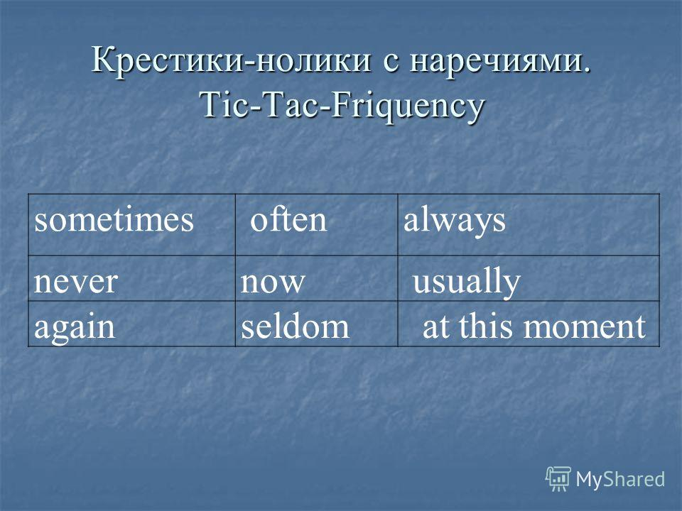 Крестики-нолики с наречиями. Tic-Tac-Friquency sometimes oftenalways nevernow usually againseldom at this moment