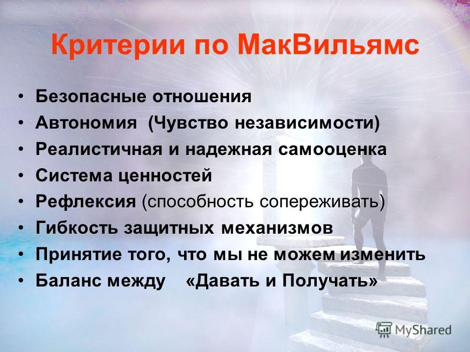 Критерии по МакВильямс Способность любить Способность работать Способность играть Способность быть и чувствовать себя живым Способность восстанавливается после стресса