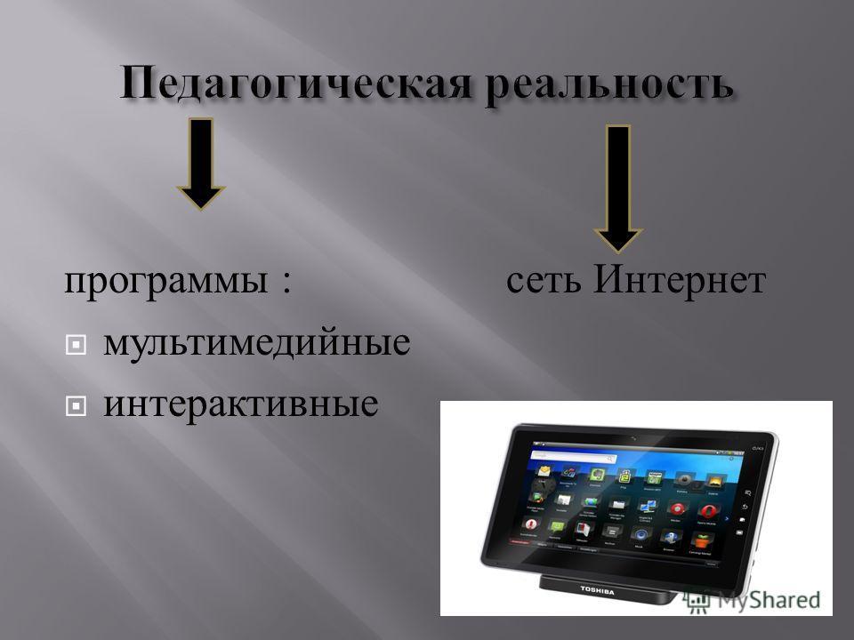 программы : сеть Интернет мультимедийные интерактивные