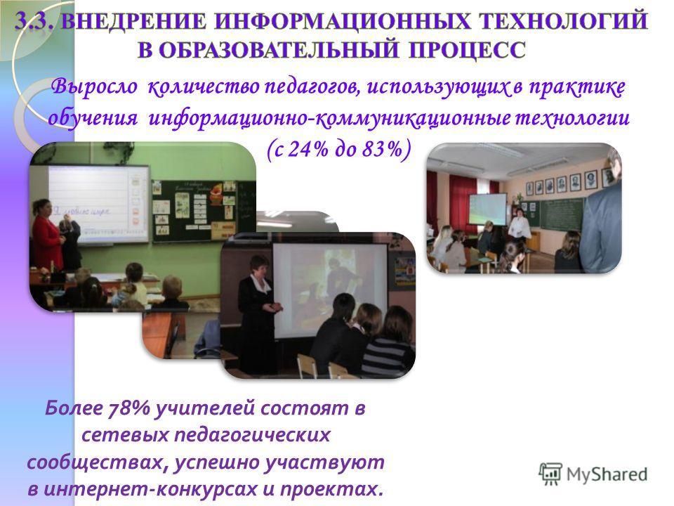 Более 78% учителей состоят в сетевых педагогических сообществах, успешно участвуют в интернет - конкурсах и проектах. Выросло количество педагогов, использующих в практике обучения информационно-коммуникационные технологии (с 24% до 83%)