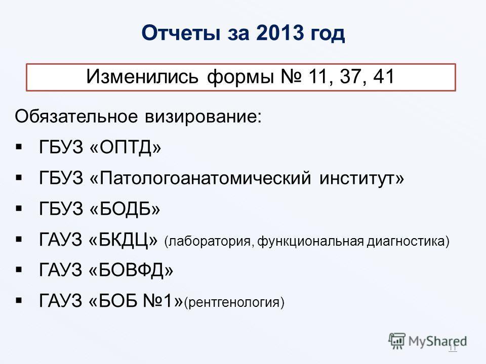Отчеты за 2013 год 11 Обязательное визирование: ГБУЗ «ОПТД» ГБУЗ «Патологоанатомический институт» ГБУЗ «БОДБ» ГАУЗ «БКДЦ» (лаборатория, функциональная диагностика) ГАУЗ «БОВФД» ГАУЗ «БОБ 1» (рентгенология) Изменились формы 11, 37, 41
