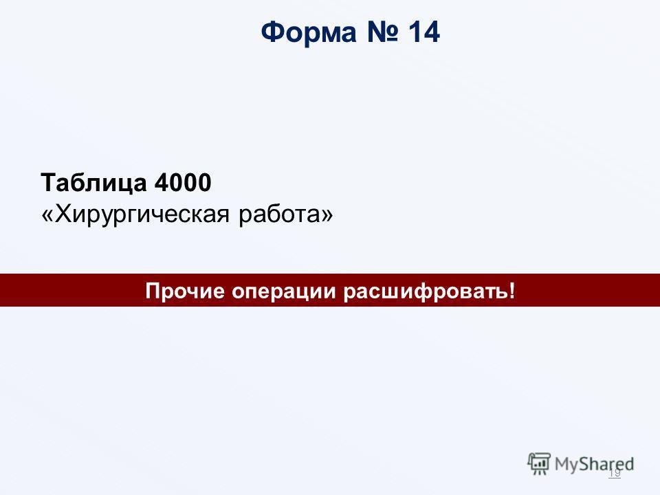 19 Прочие операции расшифровать! Форма 14 Таблица 4000 «Хирургическая работа»