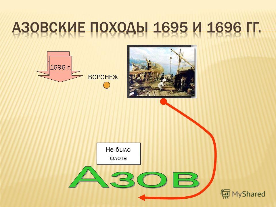1695 г. Не было флота ВОРОНЕЖ 1696 г.
