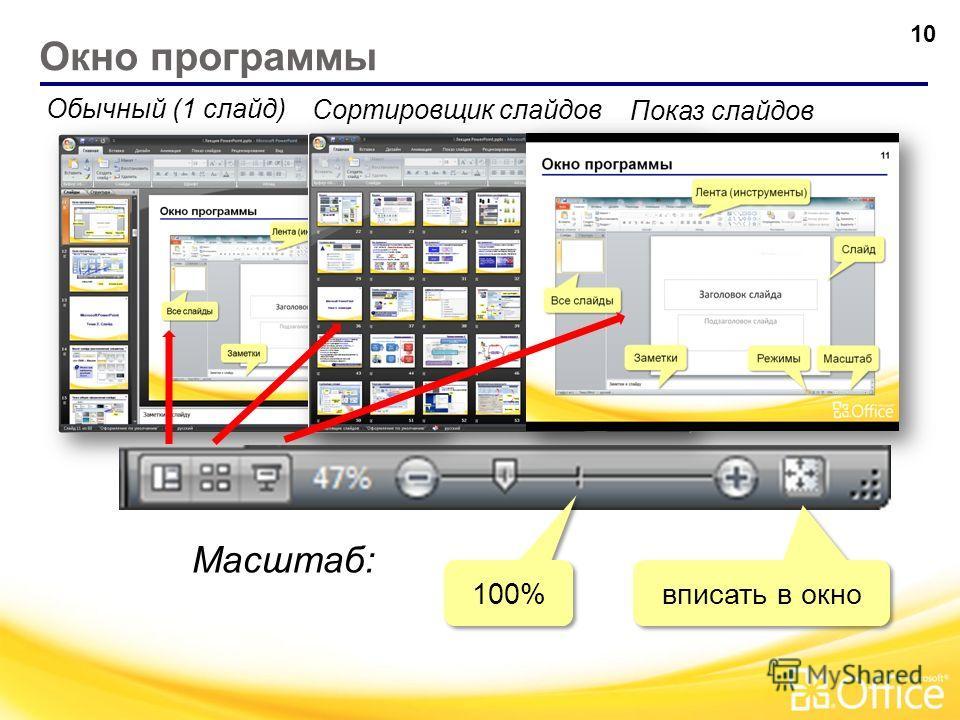 Окно программы 9 Лента (инструменты) Слайд Все слайды Заметки Режимы Масштаб