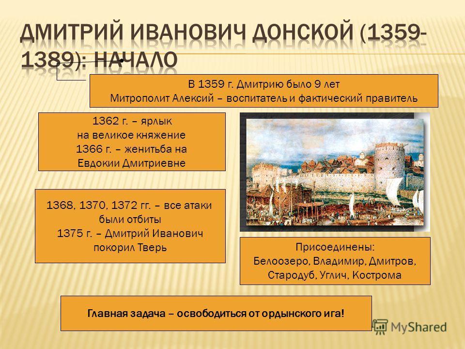 1359-1362 гг. – борьба за великое княжение с нижегородским князем Дмитрием Константиновичем В 1359 г. Дмитрию было 9 лет Митрополит Алексий – воспитатель и фактический правитель 1367-1368 гг. – строительство белокаменного Кремля 1362 г. – ярлык на ве
