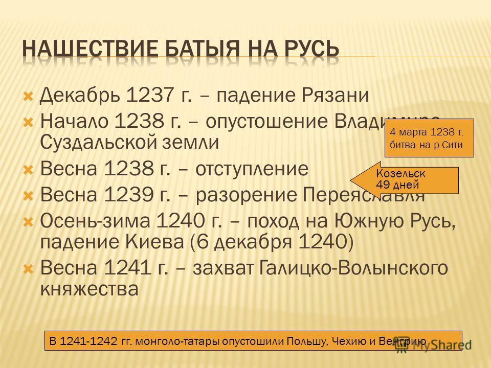 Декабрь 1237 г. – падение Рязани Начало 1238 г. – опустошение Владимиро- Суздальской земли Весна 1238 г. – отступление Весна 1239 г. – разорение Переяславля Осень-зима 1240 г. – поход на Южную Русь, падение Киева (6 декабря 1240) Весна 1241 г. – захв