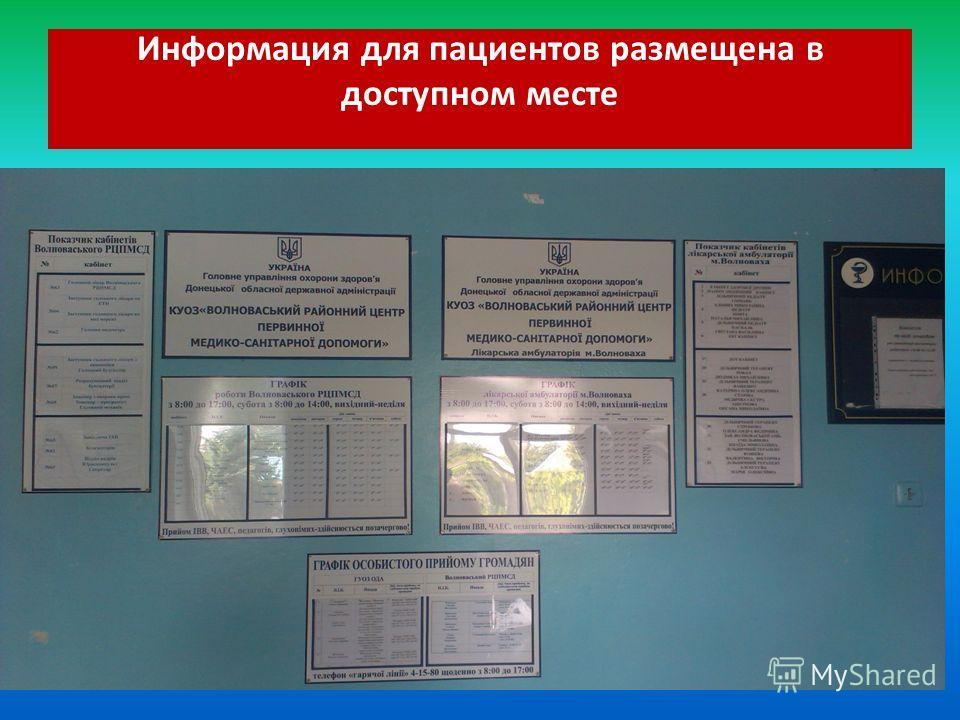 Информация для пациентов размещена в доступном месте
