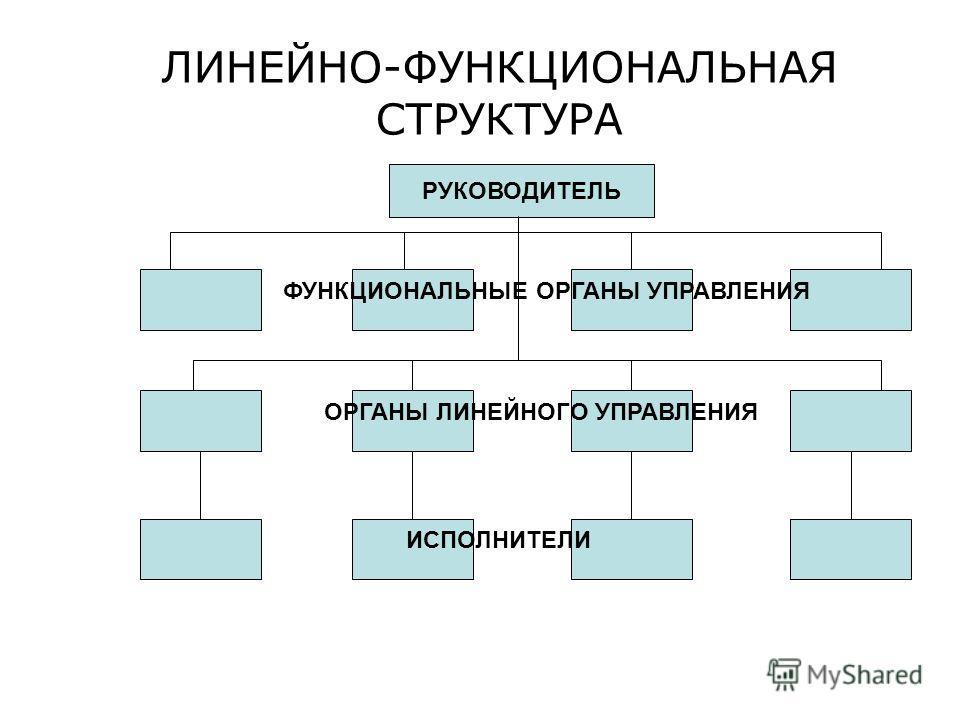ЛИНЕЙНО-ФУНКЦИОНАЛЬНАЯ СТРУКТУРА РУКОВОДИТЕЛЬ ФУНКЦИОНАЛЬНЫЕ ОРГАНЫ УПРАВЛЕНИЯ ОРГАНЫ ЛИНЕЙНОГО УПРАВЛЕНИЯ ИСПОЛНИТЕЛИ