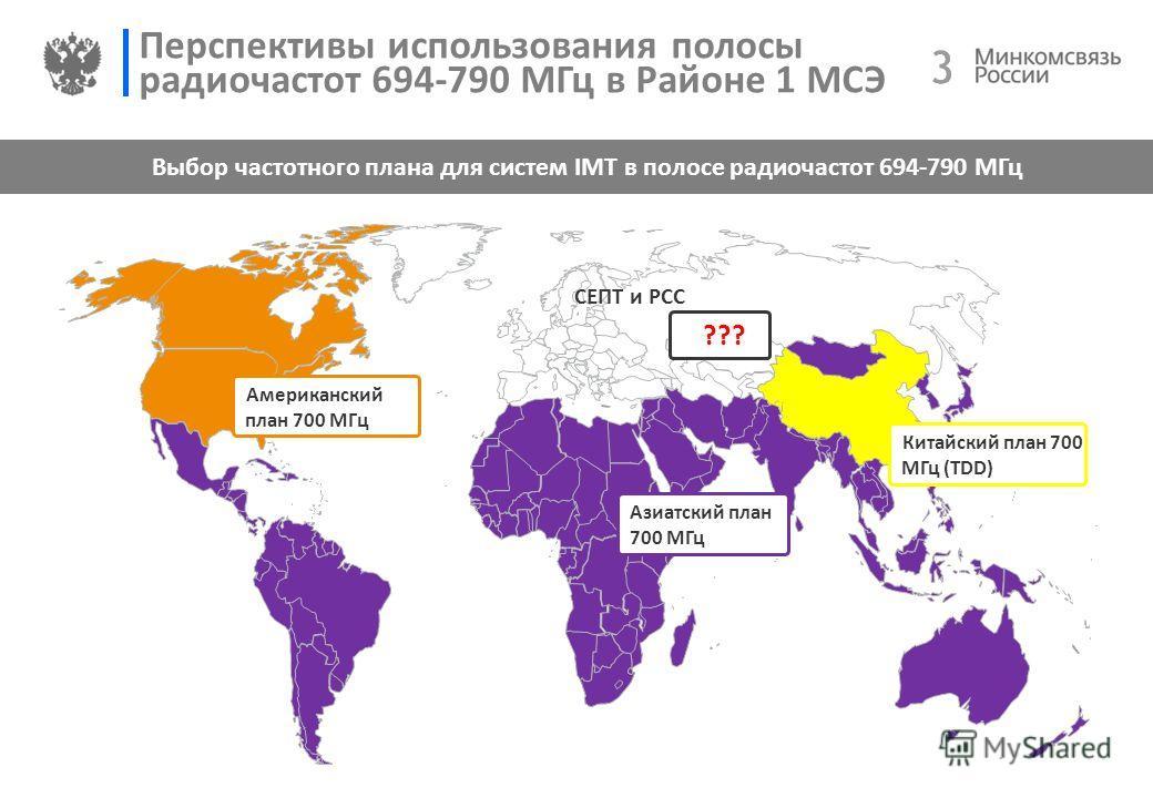 3 3 Перспективы использования полосы радиочастот 694-790 МГц в Районе 1 МСЭ Выбор частотного плана для систем IMT в полосе радиочастот 694-790 МГц СЕПТ и РСС