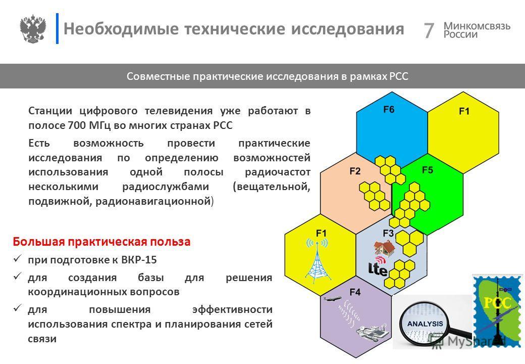 7 7 Необходимые технические исследования Совместные практические исследования в рамках РСС Большая практическая польза при подготовке к ВКР-15 для создания базы для решения координационных вопросов для повышения эффективности использования спектра и