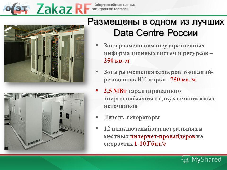 Зона размещения государственных информационных систем и ресурсов – 250 кв. м Зона размещения серверов компаний- резидентов ИТ-парка - 750 кв. м 2,5 МВт гарантированного энергоснабжения от двух независимых источников Дизель-генераторы 12 подключений м