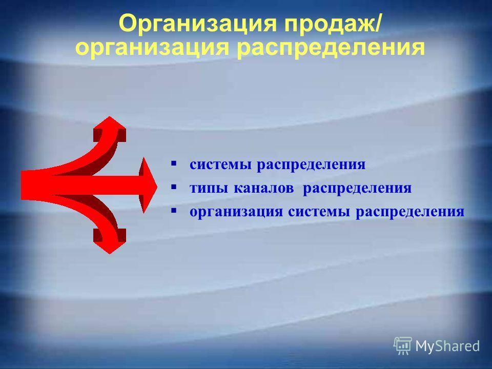 Организация продаж/ организация распределения системы распределения типы каналов распределения организация системы распределения
