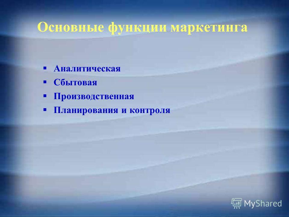 Основные функции маркетинга Аналитическая Сбытовая Производственная Планирования и контроля