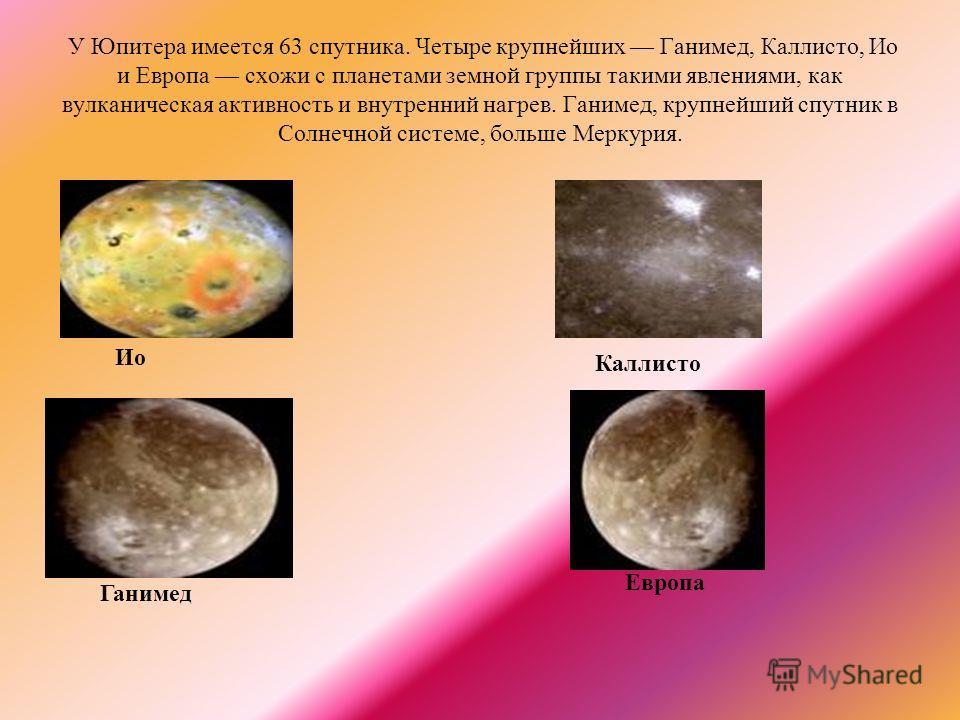 У Юпитера имеется 63 спутника. Четыре крупнейших Ганимед, Каллисто, Ио и Европа схожи с планетами земной группы такими явлениями, как вулканическая активность и внутренний нагрев. Ганимед, крупнейший спутник в Солнечной системе, больше Меркурия. Ио Г