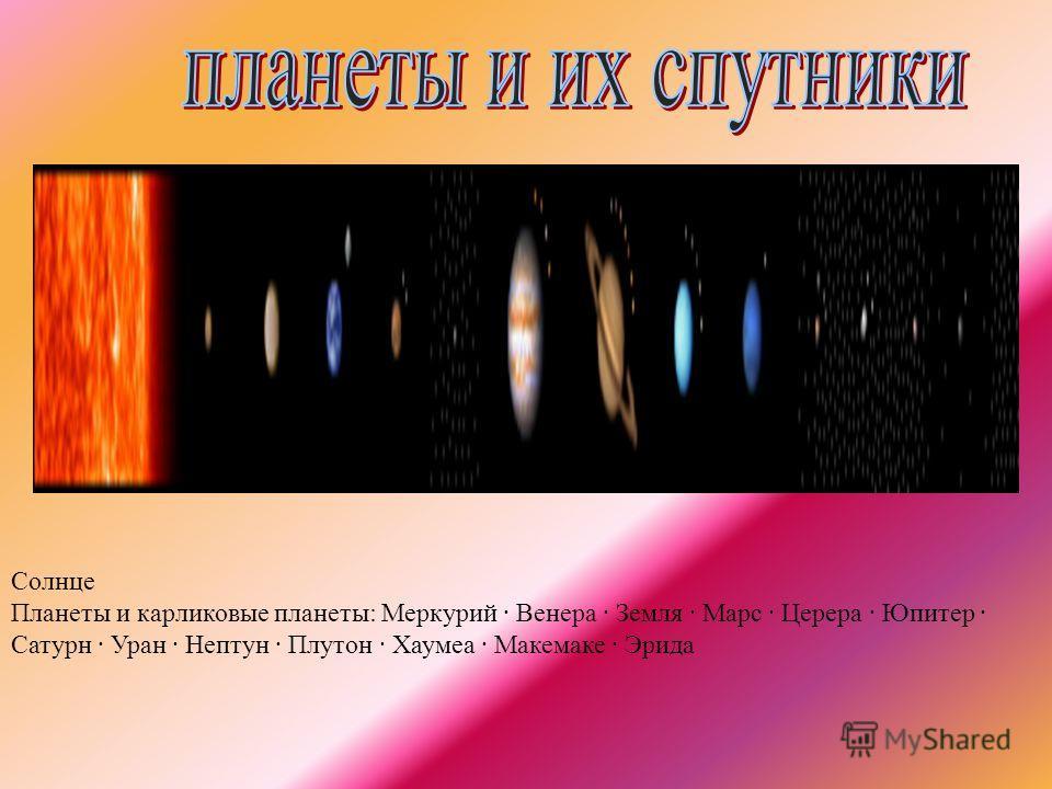 Солнце Планеты и карликовые планеты: Меркурий · Венера · Земля · Марс · Церера · Юпитер · Сатурн · Уран · Нептун · Плутон · Хаумеа · Макемаке · Эрида