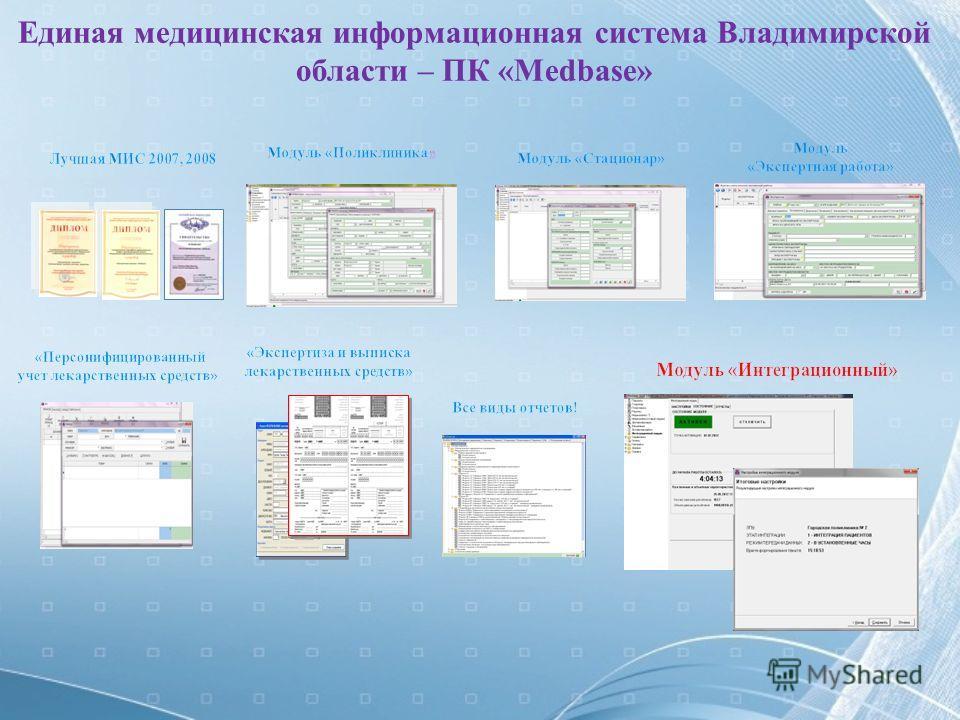 Единая медицинская информационная система Владимирской области – ПК «Medbase»