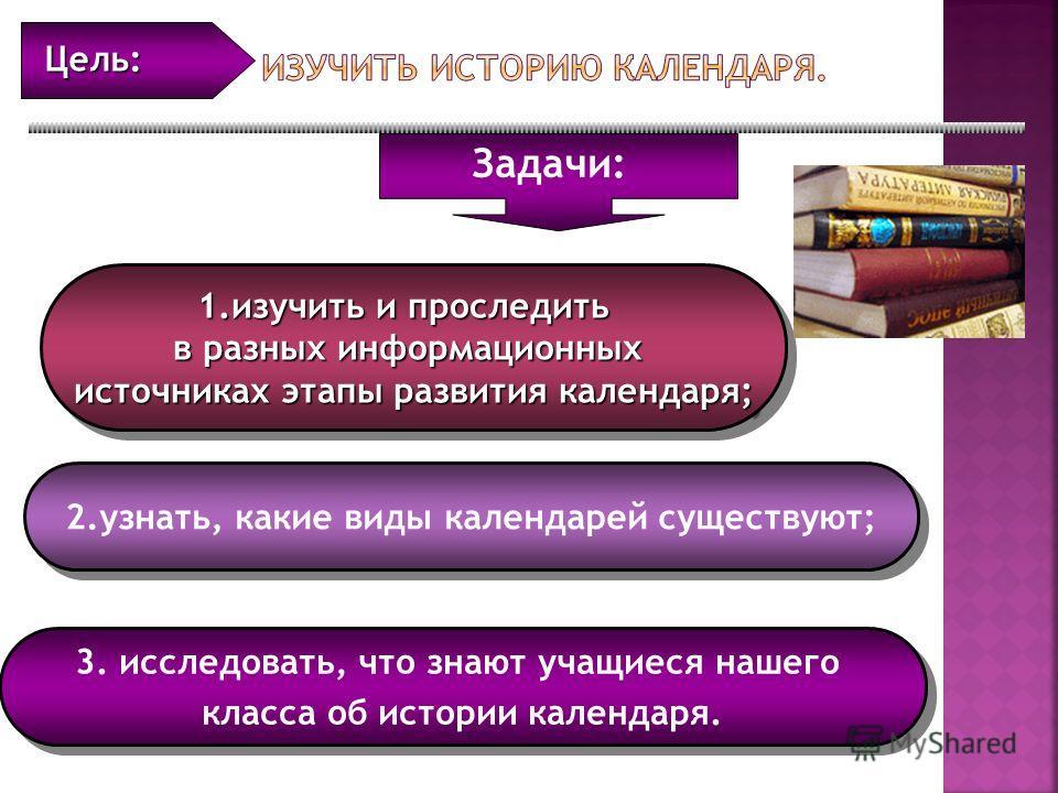 1.изучить и проследить в разных информационных источниках этапы развития календаря; 1.изучить и проследить в разных информационных источниках этапы развития календаря; 2.узнать, какие виды календарей существуют; 3. исследовать, что знают учащиеся наш
