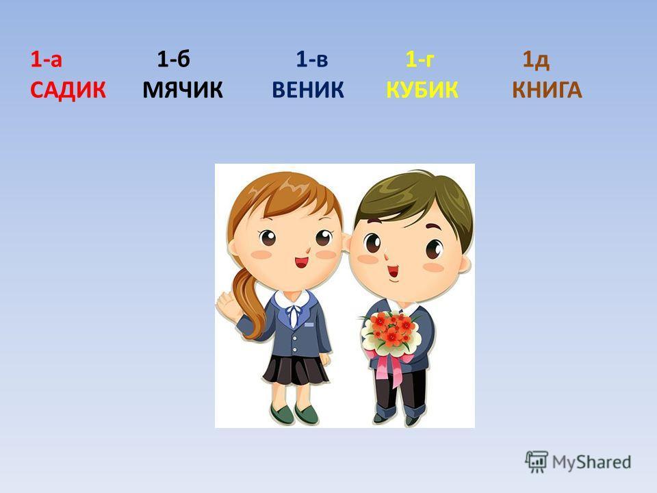 1-а 1-б 1-в 1-г 1д САДИК МЯЧИК ВЕНИК КУБИК КНИГА