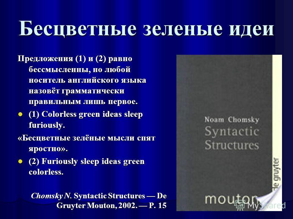 Бесцветные зеленые идеи Предложения (1) и (2) равно бессмысленны, но любой носитель английского языка назовёт грамматически правильным лишь первое. (1) Colorless green ideas sleep furiously. (1) Colorless green ideas sleep furiously. «Бесцветные зелё