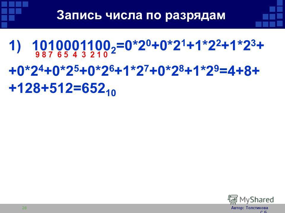 Автор: Толстикова С.Б. 28 1)1010001100 2 =0*2 0 +0*2 1 +1*2 2 +1*2 3 + +0*2 4 +0*2 5 +0*2 6 +1*2 7 +0*2 8 +1*2 9 =4+8+ +128+512=652 10 9 8 7 6 5 4 3 2 1 0 Запись числа по разрядам
