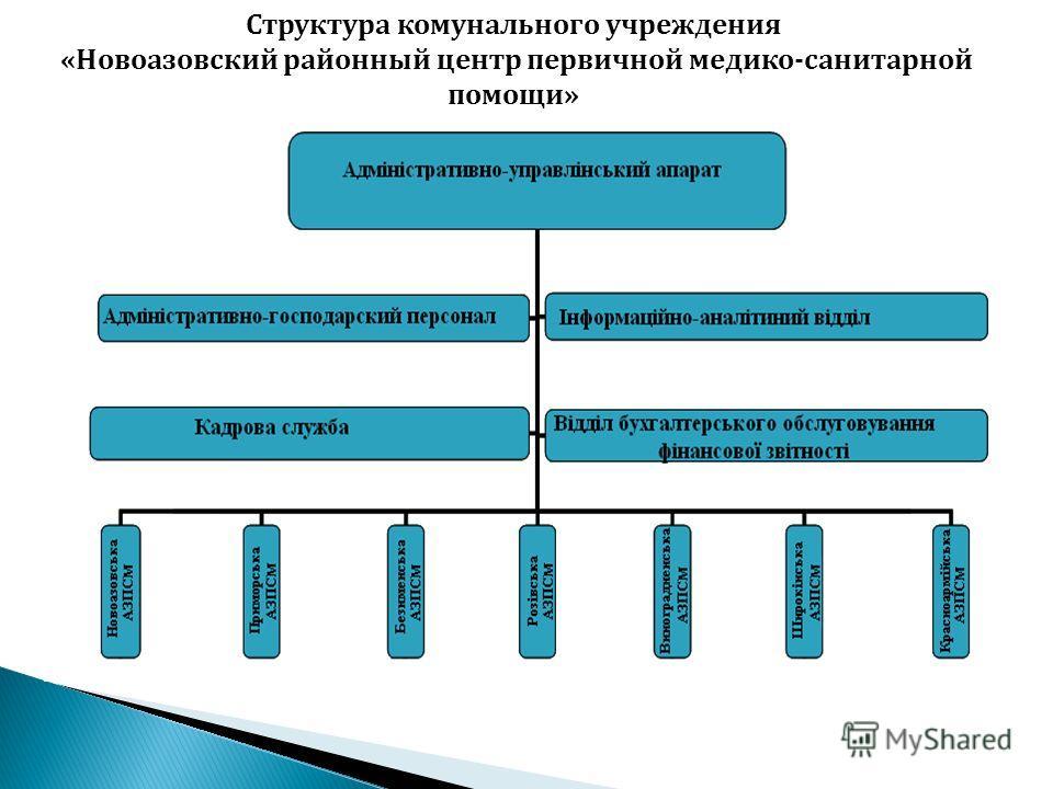 Структура комунального учреждения «Новоазовский районный центр первичной медико-санитарной помощи»
