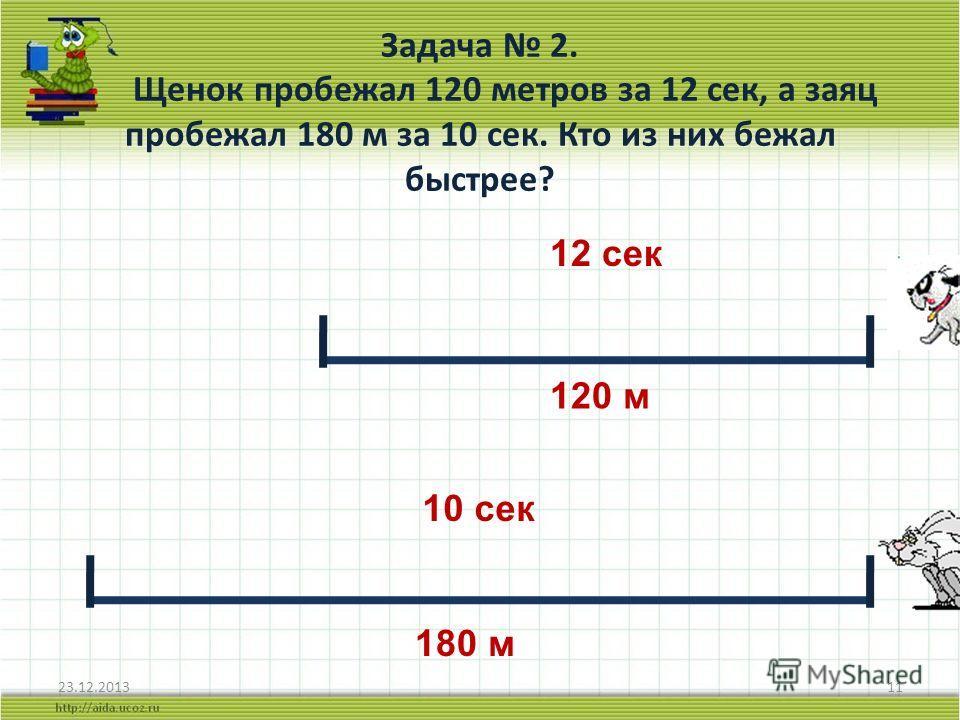 Задача 2. Щенок пробежал 120 метров за 12 сек, а заяц пробежал 180 м за 10 сек. Кто из них бежал быстрее? 23.12.201311 120 м 180 м 12 сек 10 сек