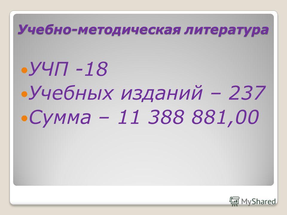 Учебно-методическая литература УЧП -18 Учебных изданий – 237 Сумма – 11 388 881,00