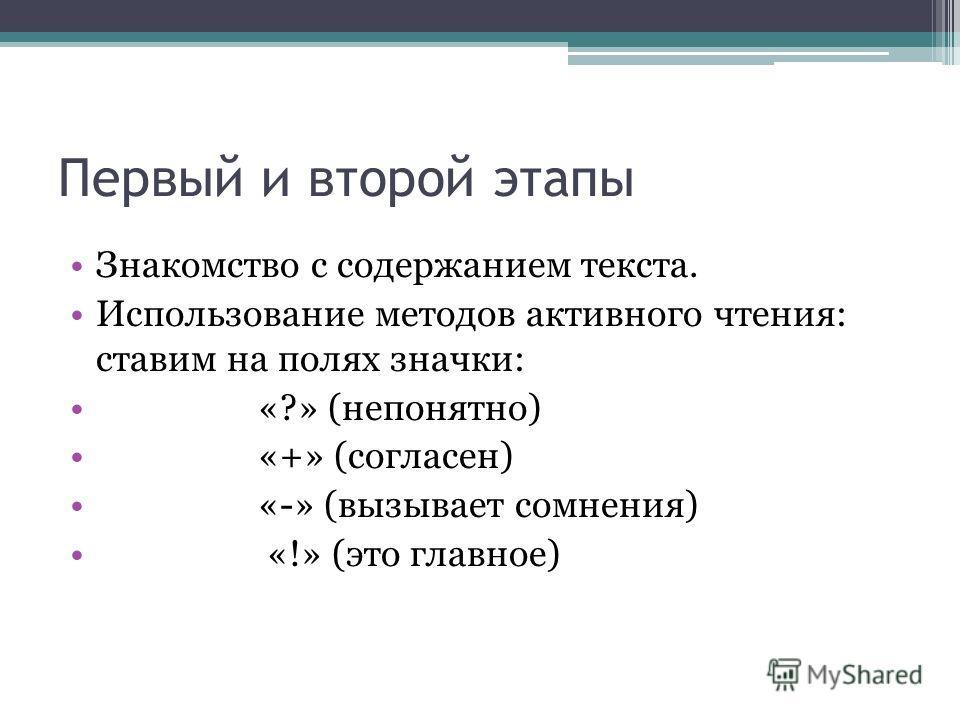 Первый и второй этапы Знакомство с содержанием текста. Использование методов активного чтения: ставим на полях значки: «?» (непонятно) «+» (согласен) «-» (вызывает сомнения) «!» (это главное)
