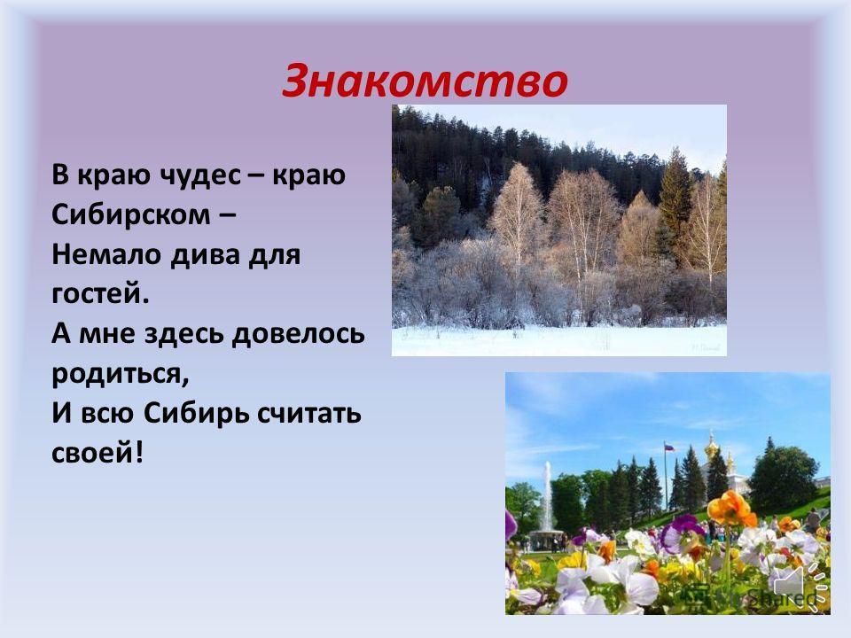 Знакомство В краю чудес – краю Сибирском – Немало дива для гостей. А мне здесь довелось родиться, И всю Сибирь считать своей!