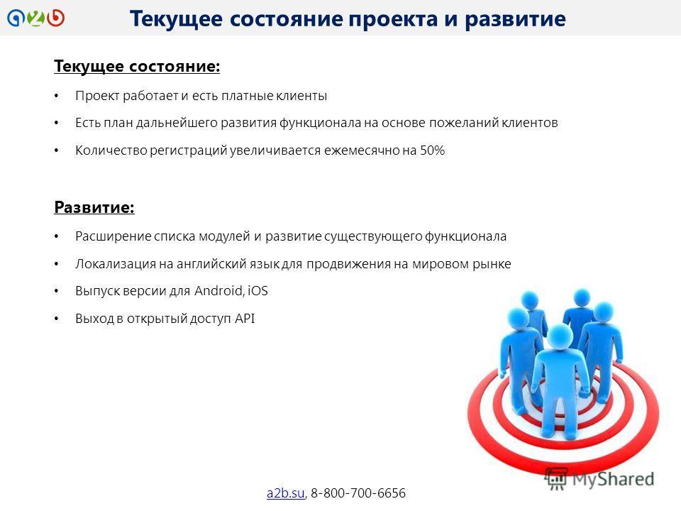 Текущее состояние проекта и развитие a2b.sua2b.su, 8-800-700-6656 Текущее состояние: Проект работает и есть платные клиенты Есть план дальнейшего развития функционала на основе пожеланий клиентов Количество регистраций увеличивается ежемесячно на 50%