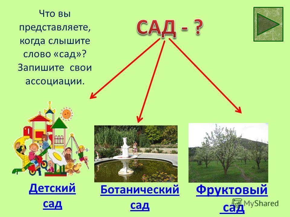 Что вы представляете, когда слышите слово «сад»? Запишите свои ассоциации. Детский сад Ботанический сад Фруктовый сад