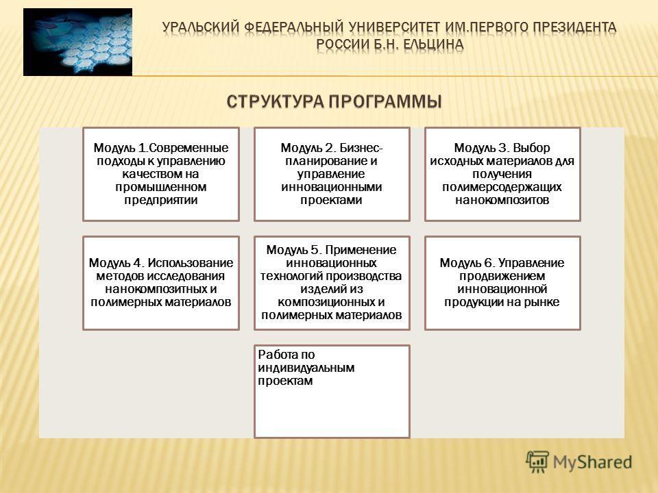 Модуль 1.Современные подходы к управлению качеством на промышленном предприятии Модуль 2. Бизнес- планирование и управление инновационными проектами Модуль 3. Выбор исходных материалов для получения полимерсодержащих нанокомпозитов Модуль 4. Использо